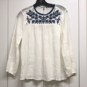 Lucky brand white boho floral long sleeves